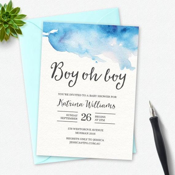 Baby Shower Invitation Font Elegant Boy Baby Shower Invitation Boy Oh Boy Watercolor