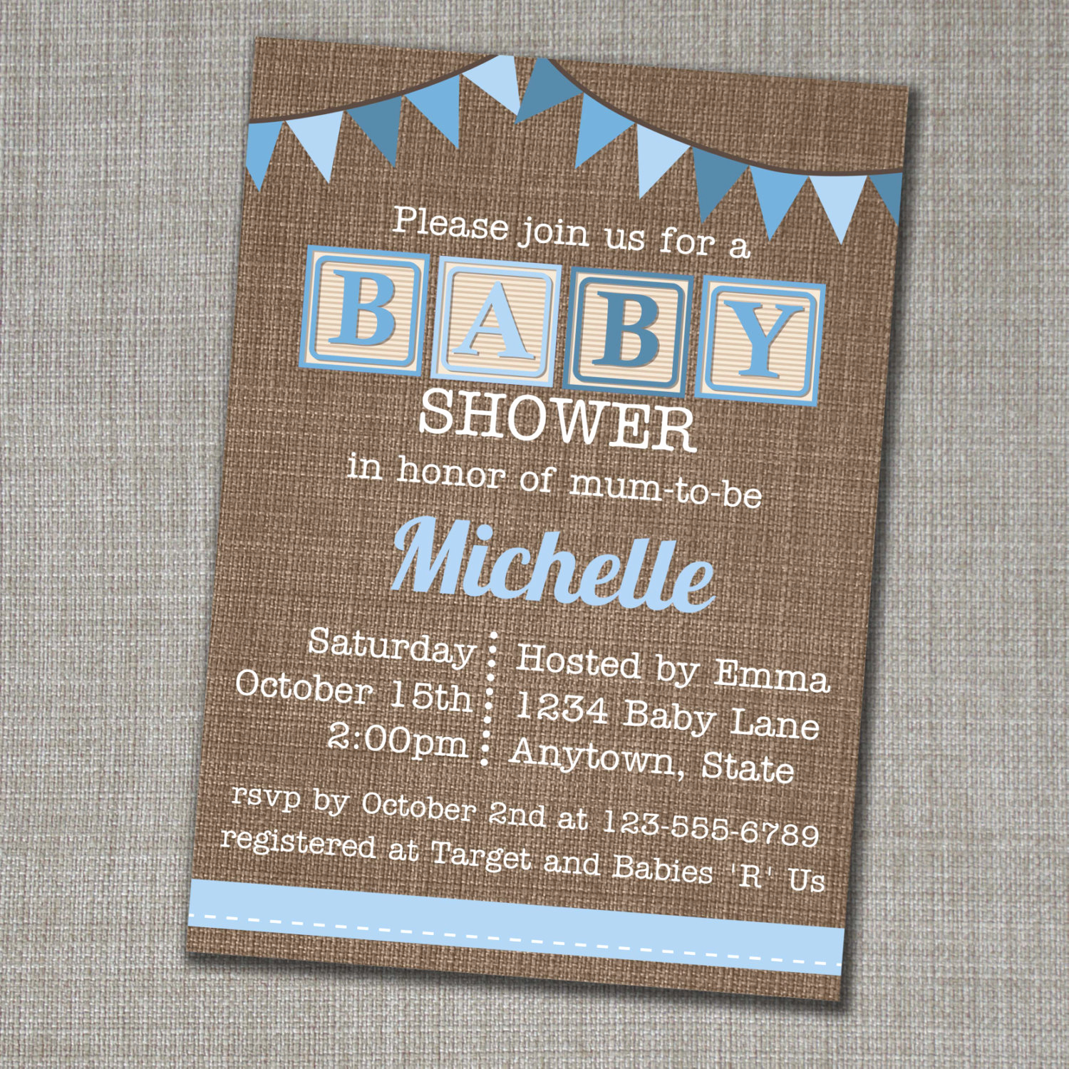 Baby Shower Invitation Font Unique Baby Shower Invitation Blue Alphabet Blocks Baby Shower