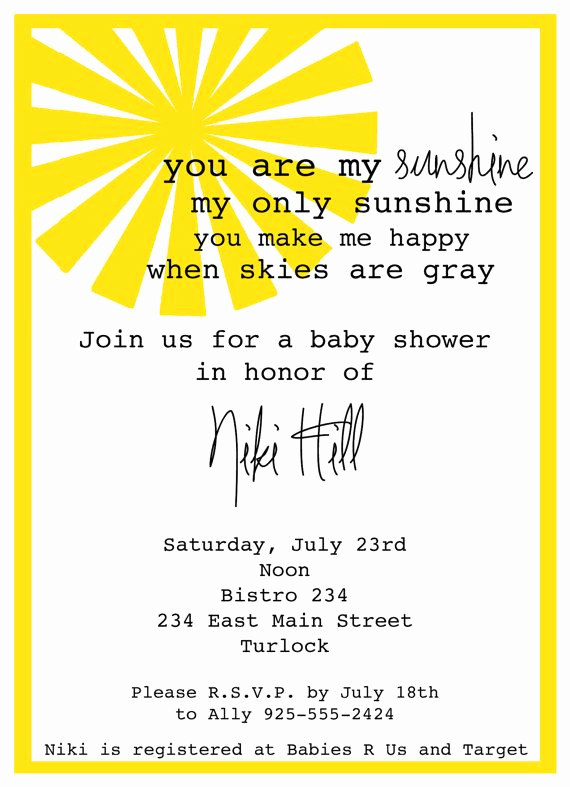 Baby Shower Invitation Fonts Beautiful You are My Sunshine Baby Shower Invitation