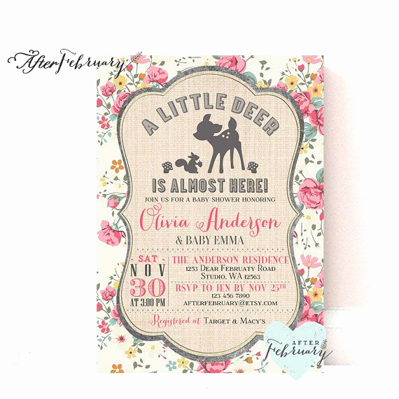 Baby Shower Invitation Fonts Best Of Woodland Baby Shower Invitation Girl Deer Baby Shower