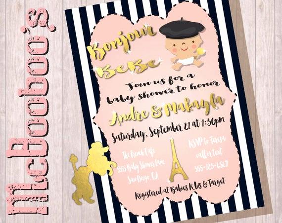 Baby Shower Invitation Fonts Elegant Bonjour Bebe Baby Shower Invitations with Faux Gold Fonts and