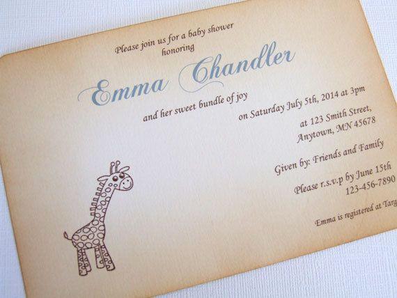 Baby Shower Invitation Fonts Elegant Giraffe Baby Shower Invitation Baby Boy Shower Invitation
