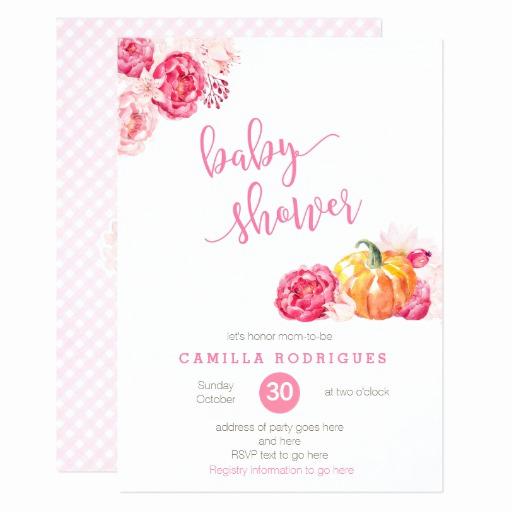 Baby Shower Invitation Fonts Fresh Fall Pink Baby Shower Invite Script Font Pumpkins Card