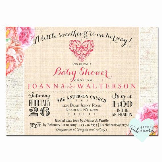 Baby Shower Invitation Fonts Fresh Valentine Baby Shower Invitation Custom Font Color