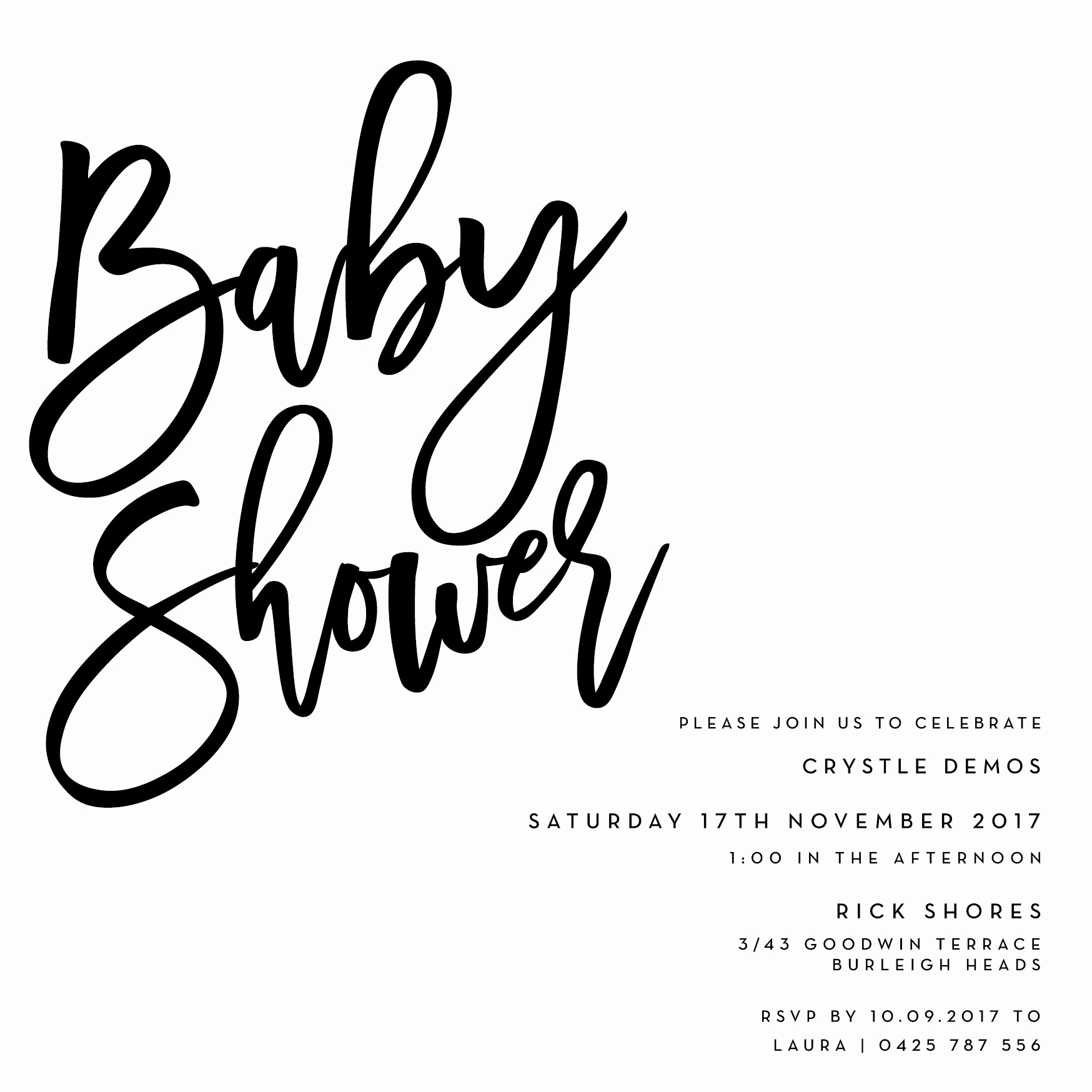 Baby Shower Invitation Fonts Inspirational Black Script Baby Shower Invitation – Labelle Creative