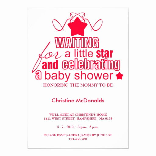 """Baby Shower Invitation Fonts Unique Baby Shower Red Star Font Typography Vintage 5"""" X 7"""