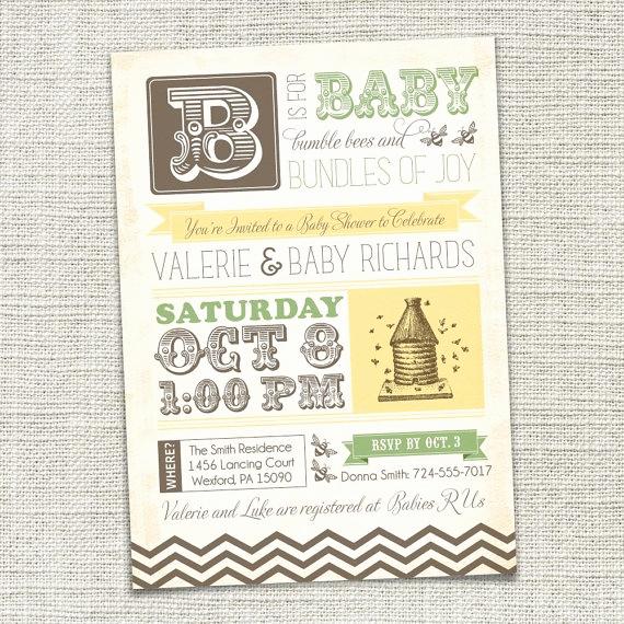 Baby Shower Invitation Fonts Unique Vintage Bumble Bee Baby Shower Invitation by Cadencepaige