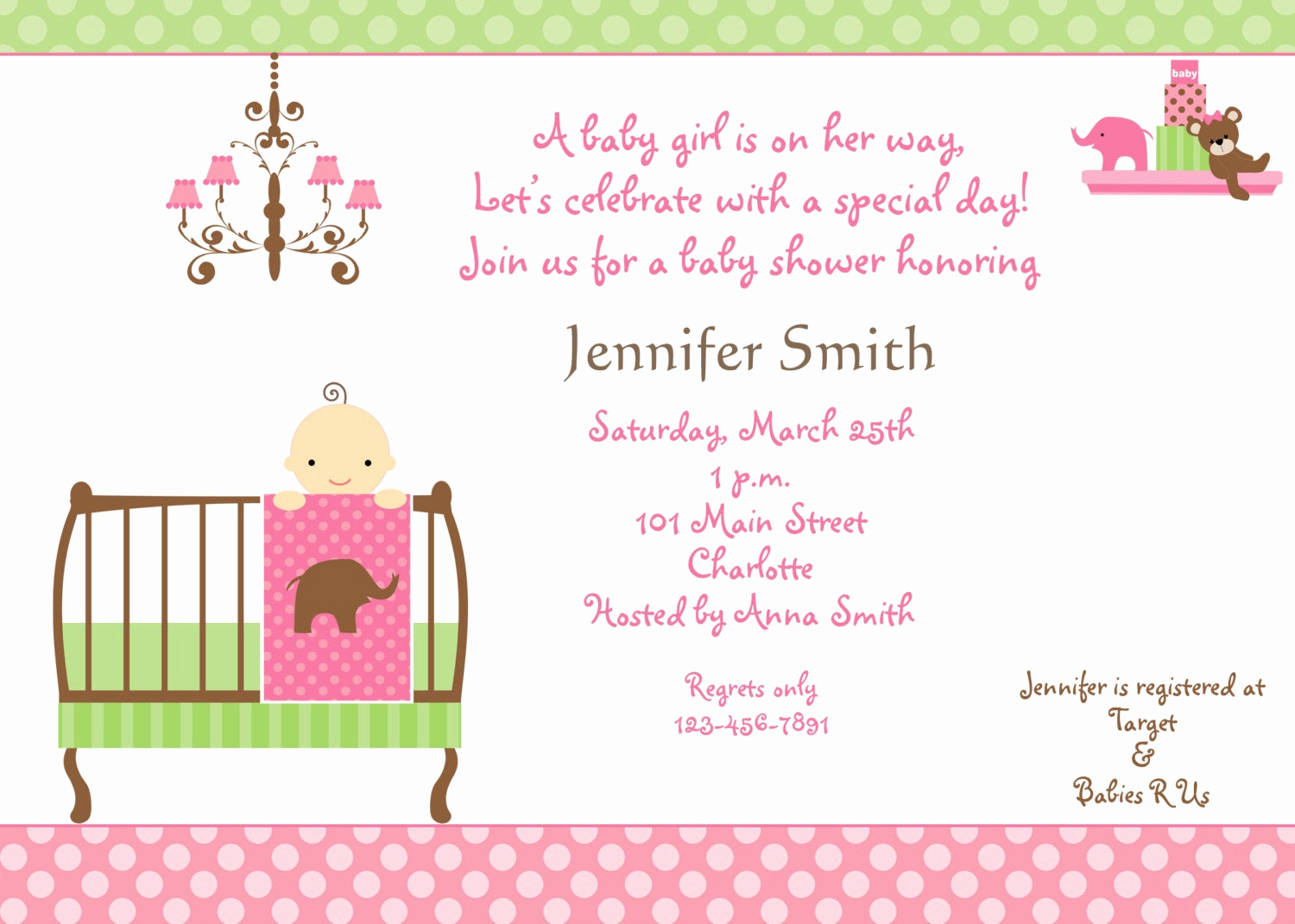 Baby Shower Invitation for Girl Awesome Baby Shower Invitation Baby Girl Shower Invitation You