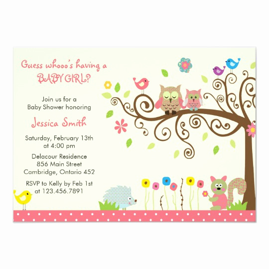 Baby Shower Invitation for Girl Awesome Cute Pink Owl Girl Baby Shower Invitations