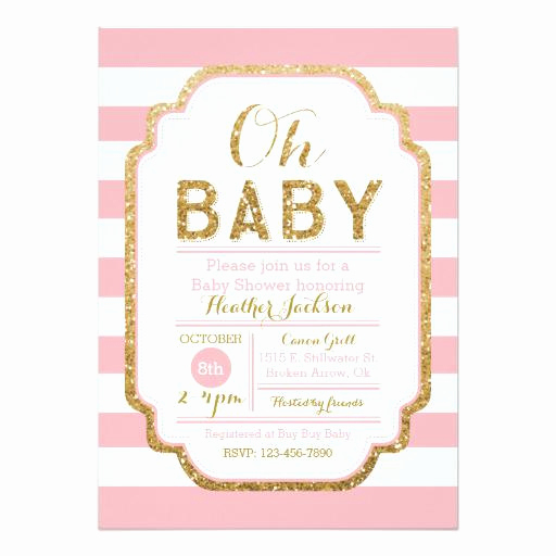 Baby Shower Invitation for Girl Beautiful Glitter Baby Shower Invitations