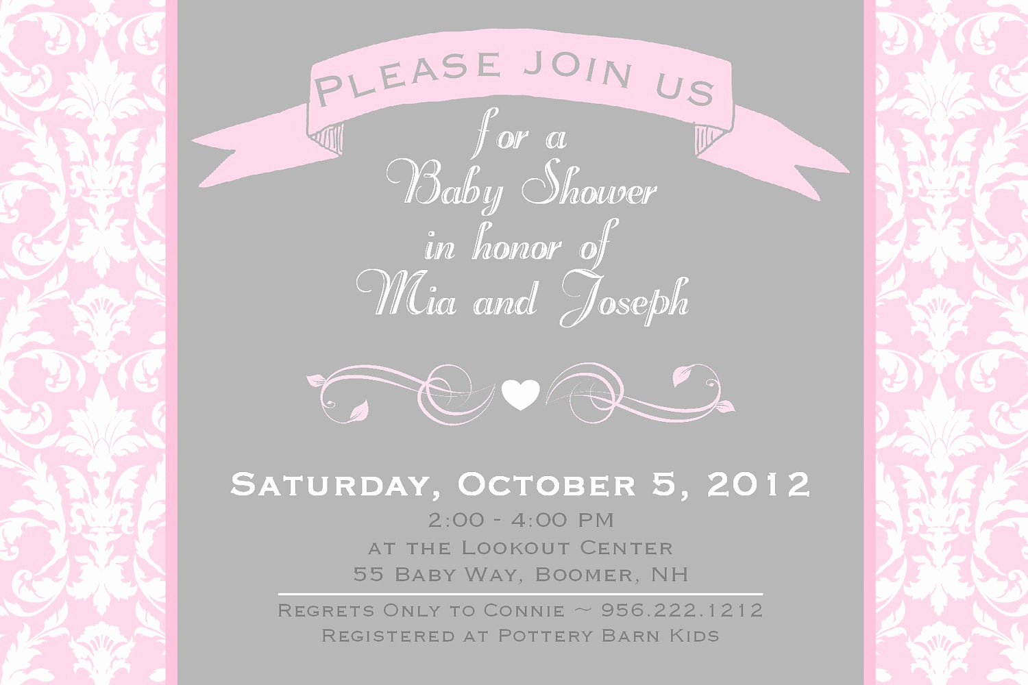 Baby Shower Invitation for Girl Best Of Damask Baby Shower Invitation Girl Invitation Elegant Damask