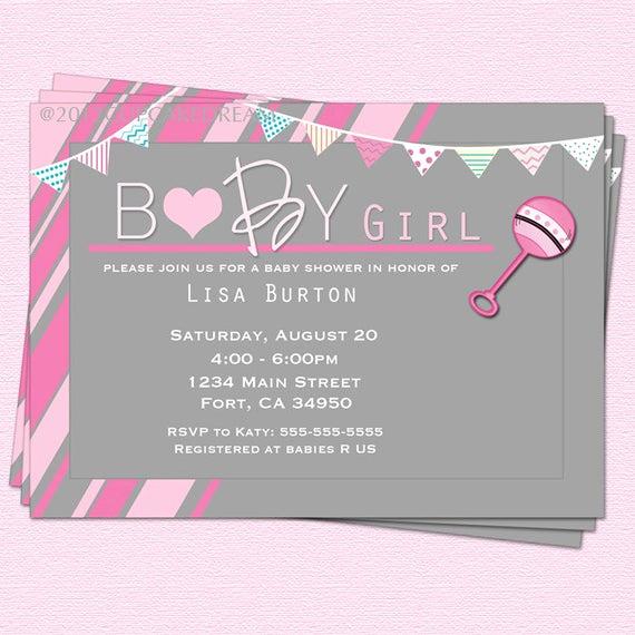 Baby Shower Invitation for Girl Elegant Baby Shower Invitation Girl Baby Shower Rattle Invitation