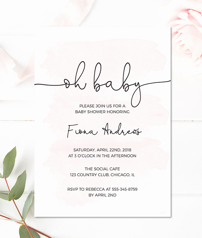 Baby Shower Invitation for Girl Elegant Pink Watercolor Baby Shower Invitation for A Girl