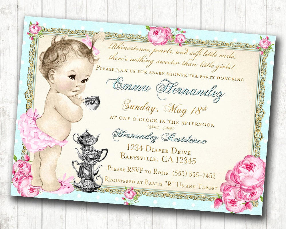 Baby Shower Invitation for Girl Inspirational Baby Shower Tea Party Invitation Shabby Chic Floral Vintage
