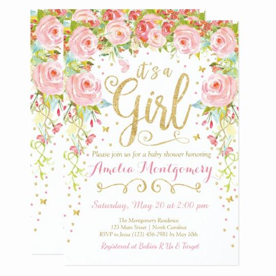 Baby Shower Invitation for Girl Inspirational Floral butterfly Girl Baby Shower Invitation