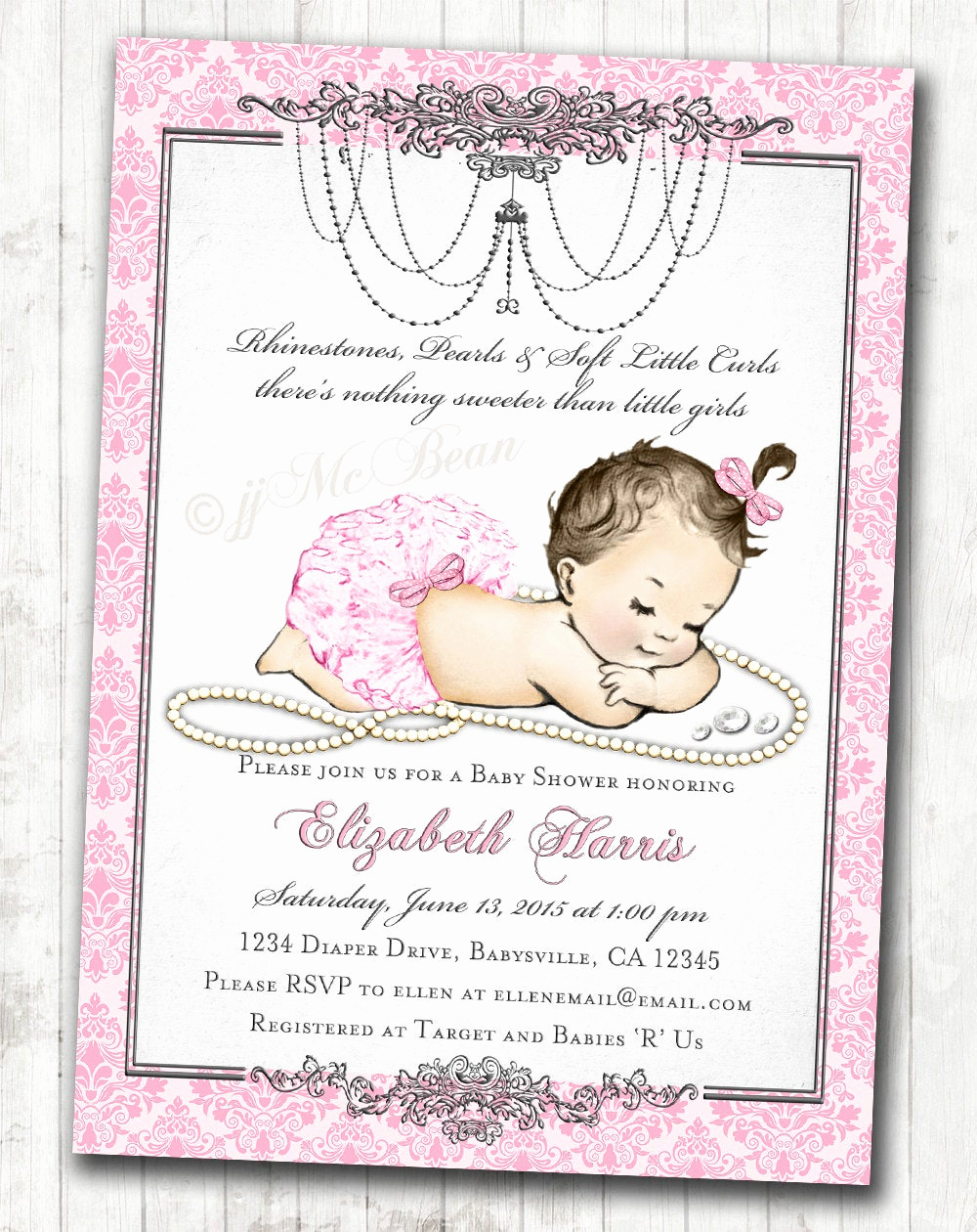 Baby Shower Invitation for Girl Luxury Girl Baby Shower Invitation for Baby Girl Pink & Silver