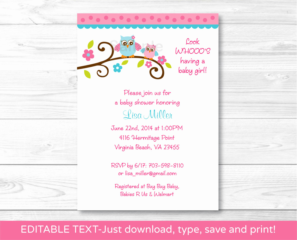 Baby Shower Invitation for Girl Luxury Girl Owl Printable Baby Shower Invitation Editable Pdf