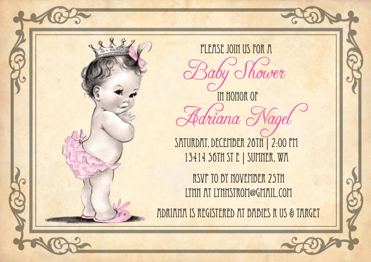 Baby Shower Invitation for Girl Luxury Princess Girl Baby Shower Invitations Vintage Princess