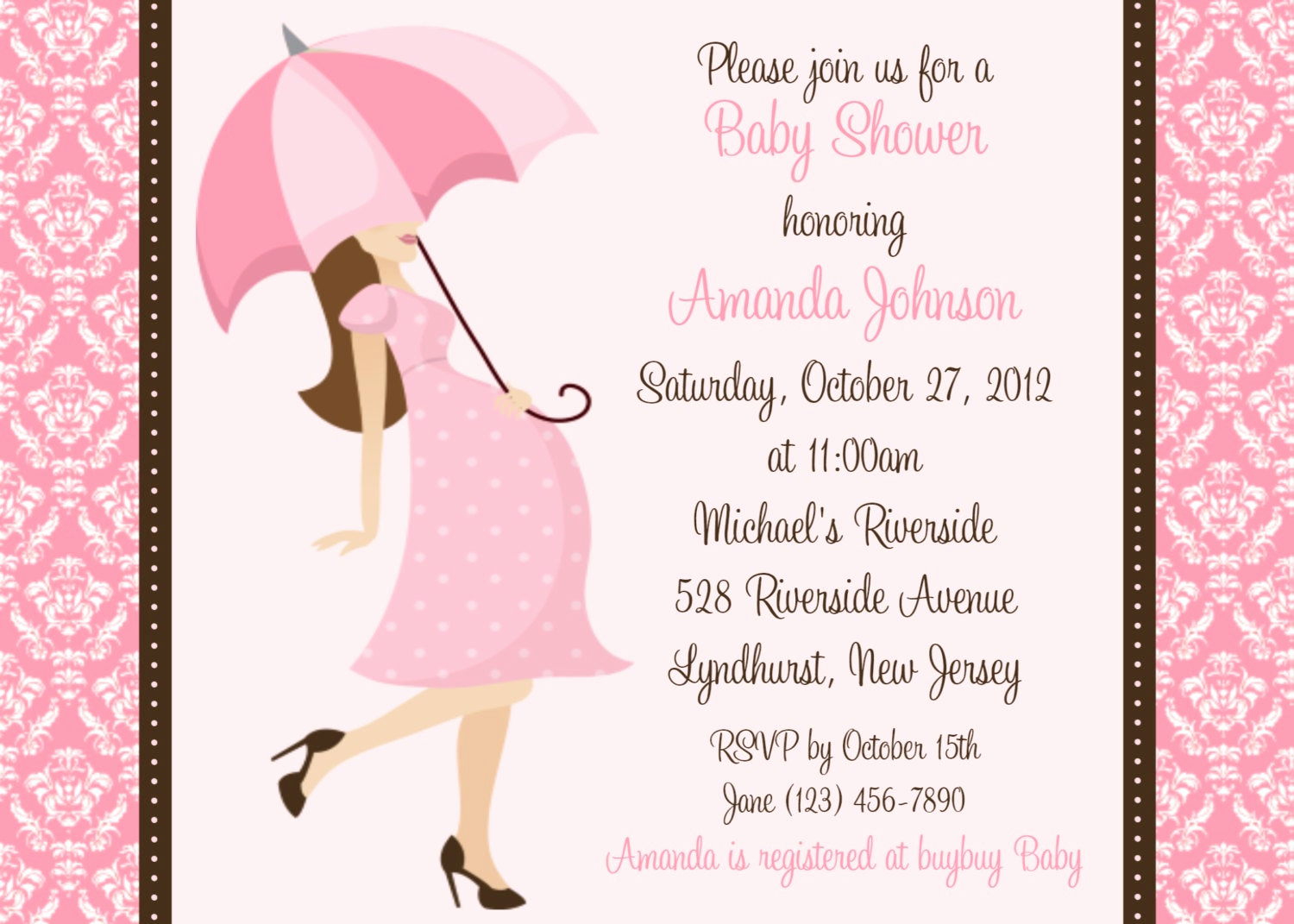 Baby Shower Invitation for Girl New Damask Baby Shower Girl Invitation Personalized Custom Girl