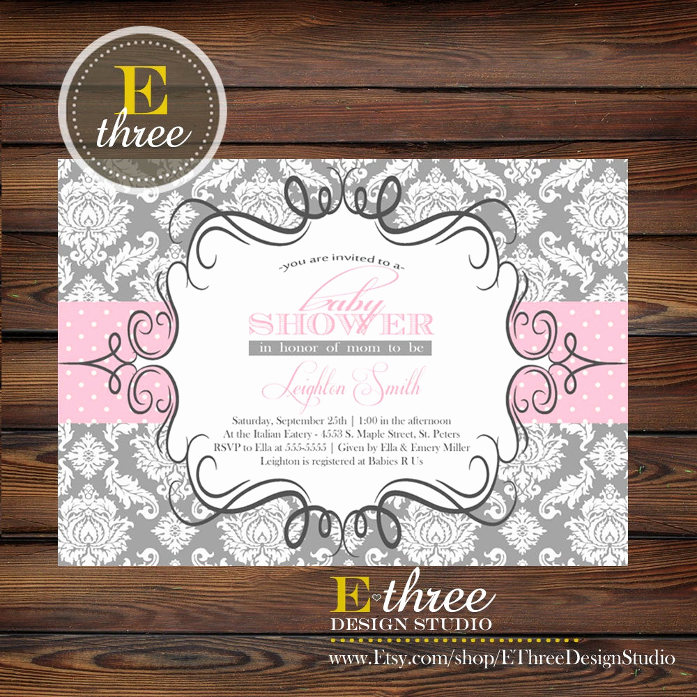 Baby Shower Invitation for Girl New Pink and Gray Baby Girl Shower Invitation Damask Baby Shower