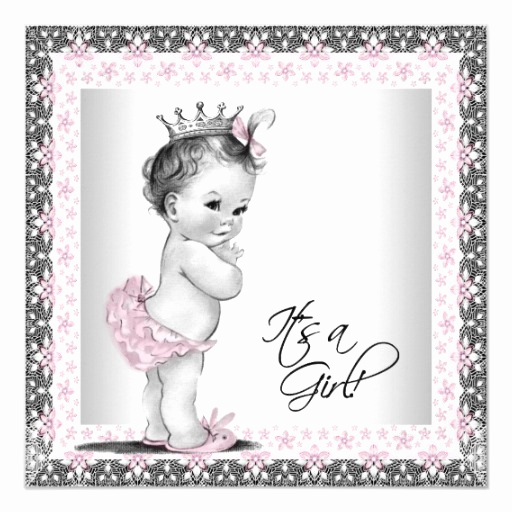 Baby Shower Invitation for Girl New Pink and Gray Vintage Baby Girl Shower Invitation