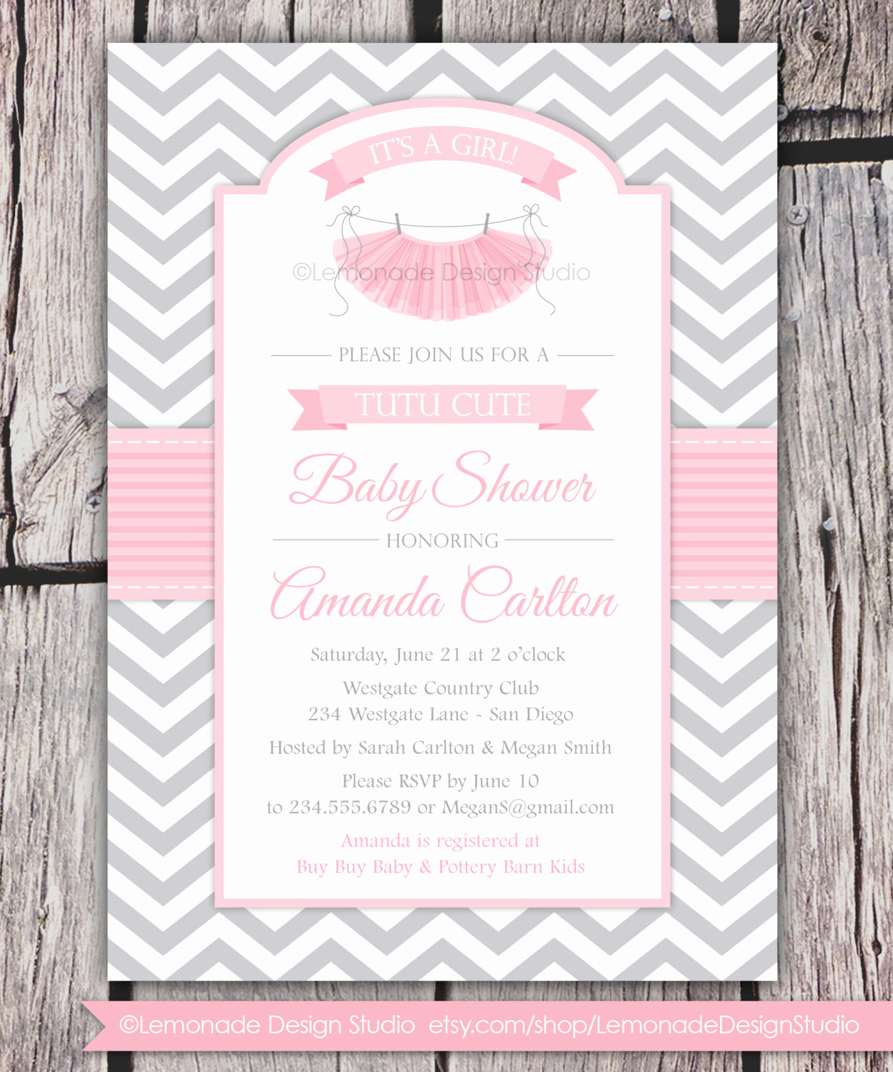 Baby Shower Invitation for Girl New Tutu Cute Baby Shower Invitation Chevron Pink Grey Girl