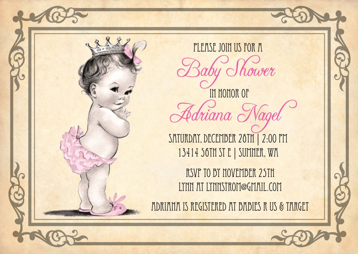 Baby Shower Invitation for Girl Unique Princess Baby Shower Invitation Girl Vintage Princess Baby