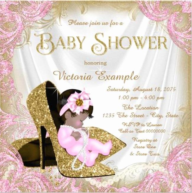 Baby Shower Invitation for Girls Best Of Glitter Baby Girl Shower Invitation Sample