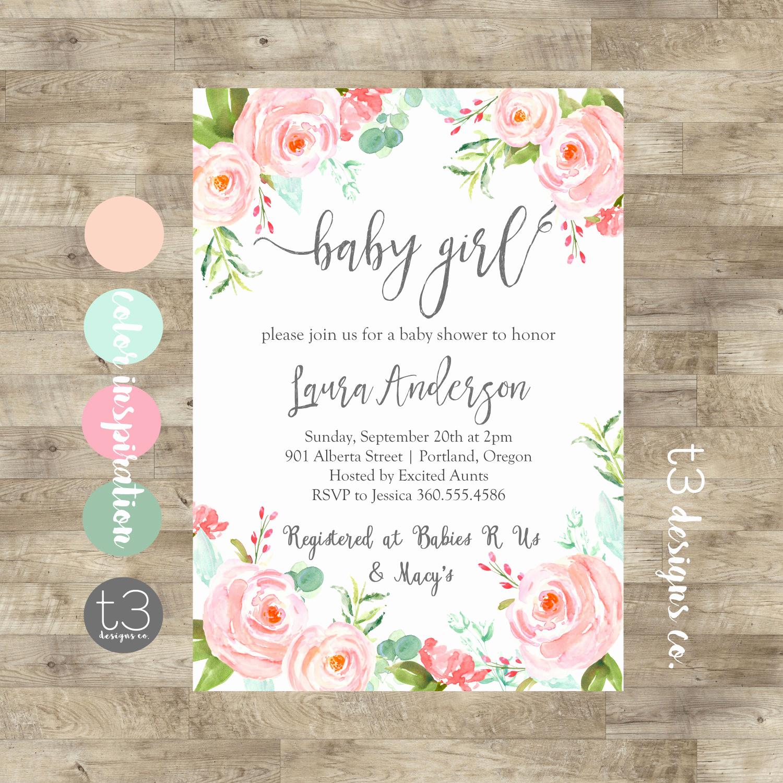 Baby Shower Invitation for Girls Elegant Floral Girl Baby Shower Invitation Baby Girl Shower Invite