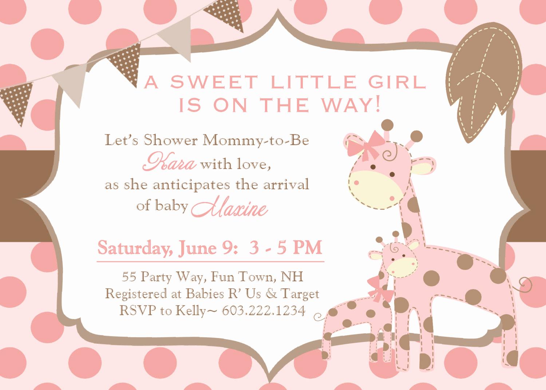 Baby Shower Invitation for Girls Fresh Giraffe Baby Shower Invitation Girl Invitation Giraffe Baby