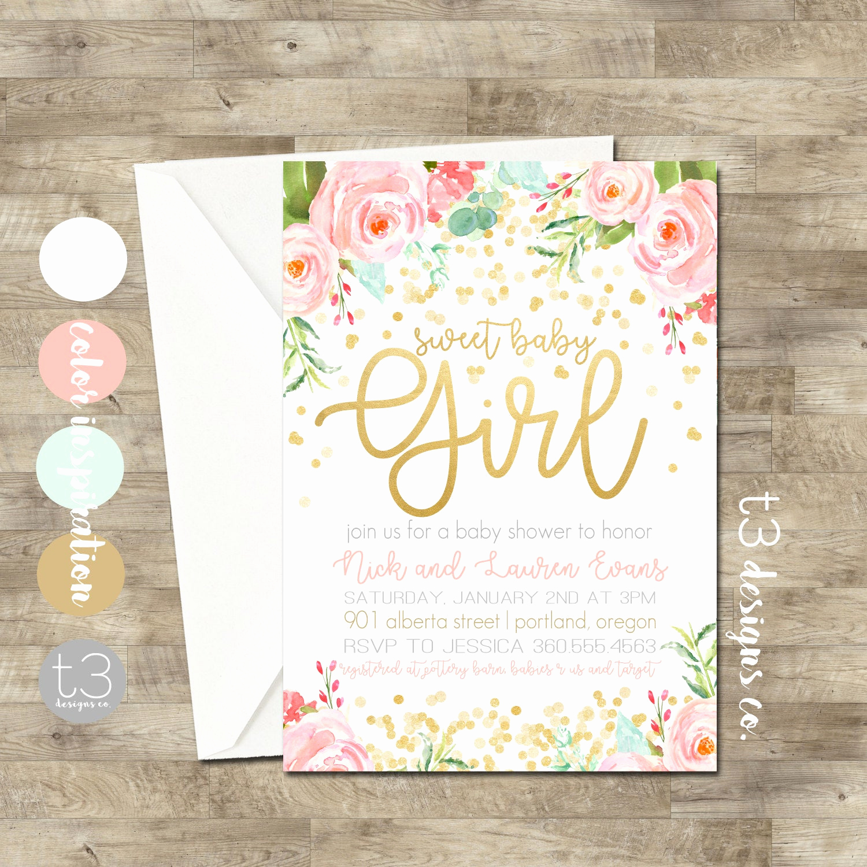 Baby Shower Invitation for Girls Inspirational Gold Confetti Baby Shower Invitation Girl Baby Shower
