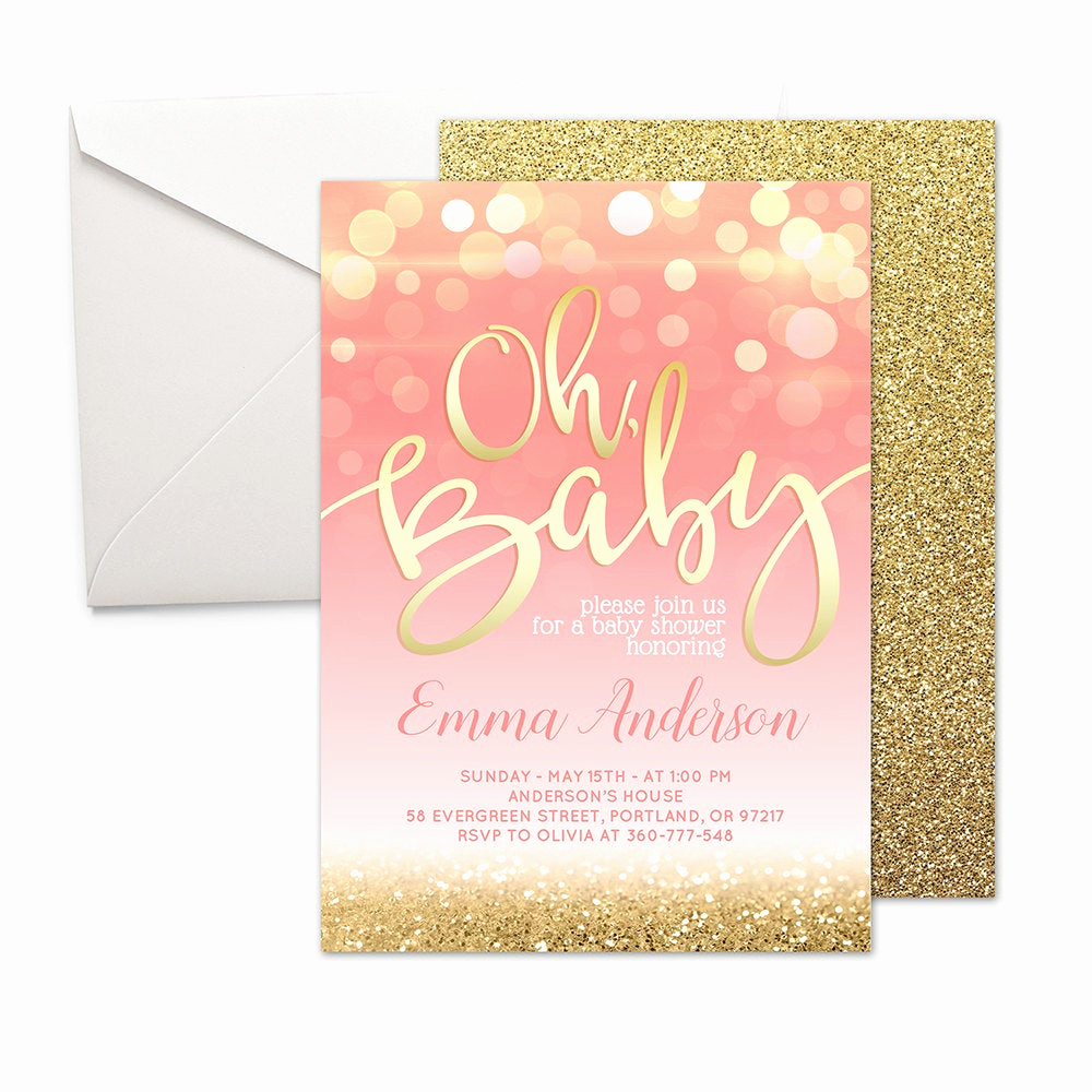 Baby Shower Invitation for Girls New Pink and Gold Baby Shower Invitation Girl Baby Shower