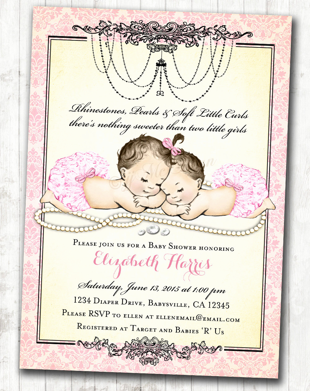 Baby Shower Invitation for Girls New Twin Girls Baby Shower Invitation for Baby Girls Pink Vintage