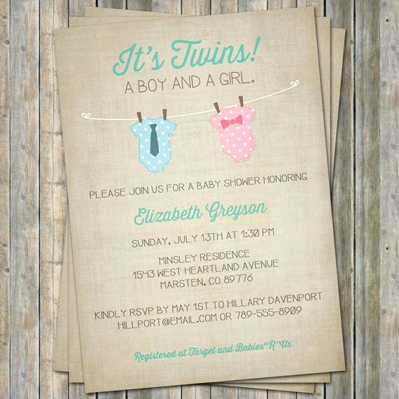 Baby Shower Invitation for Twins Awesome Boy Girl Twin Esie Baby Shower Invitation Pink and Blue