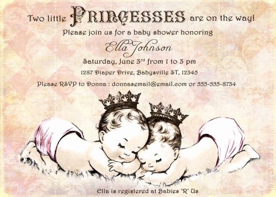 Baby Shower Invitation for Twins Beautiful Twins Baby Shower Invitation for Twin Girls Vintage