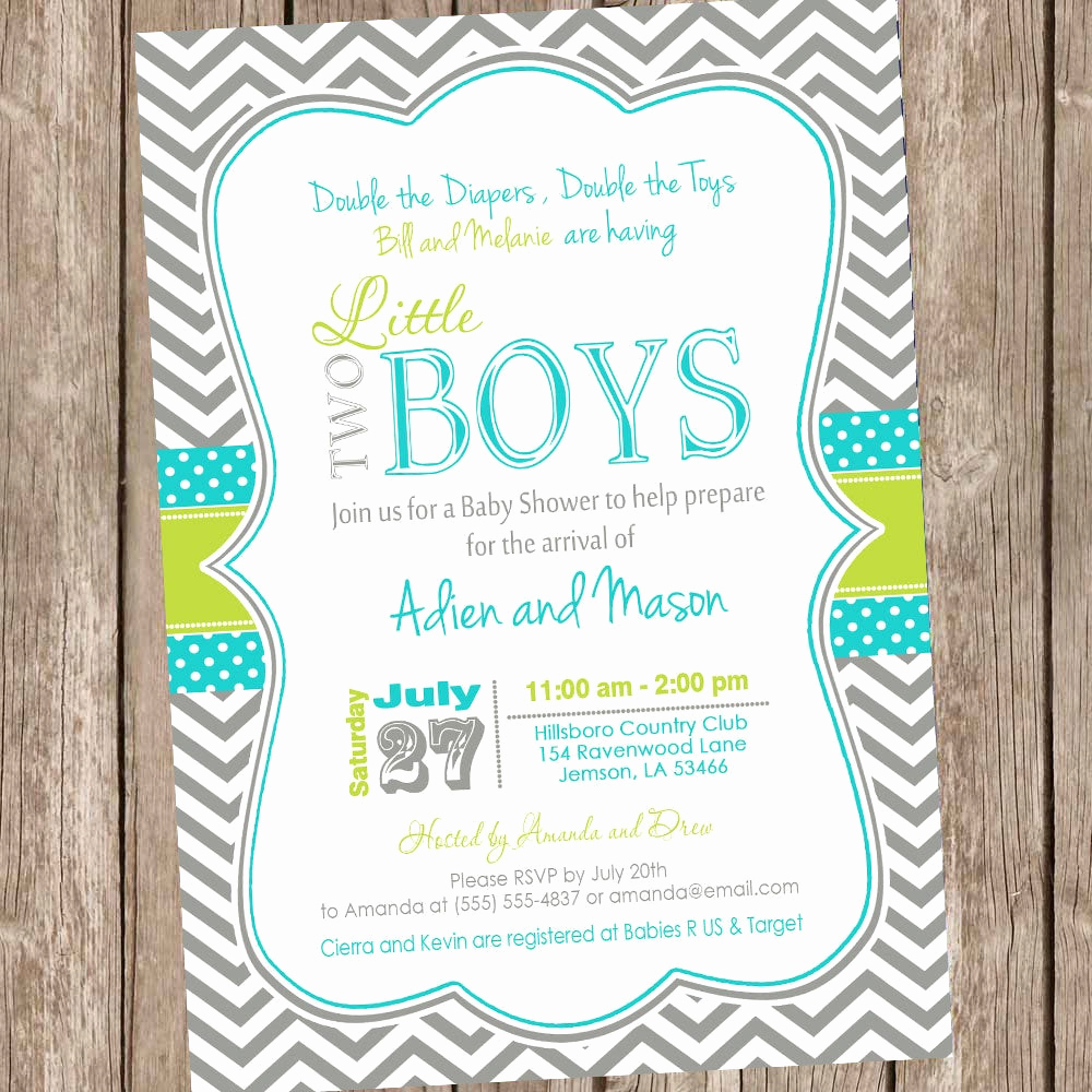 Baby Shower Invitation for Twins Elegant Twin Boys Baby Shower Invitation Chevron Baby Shower