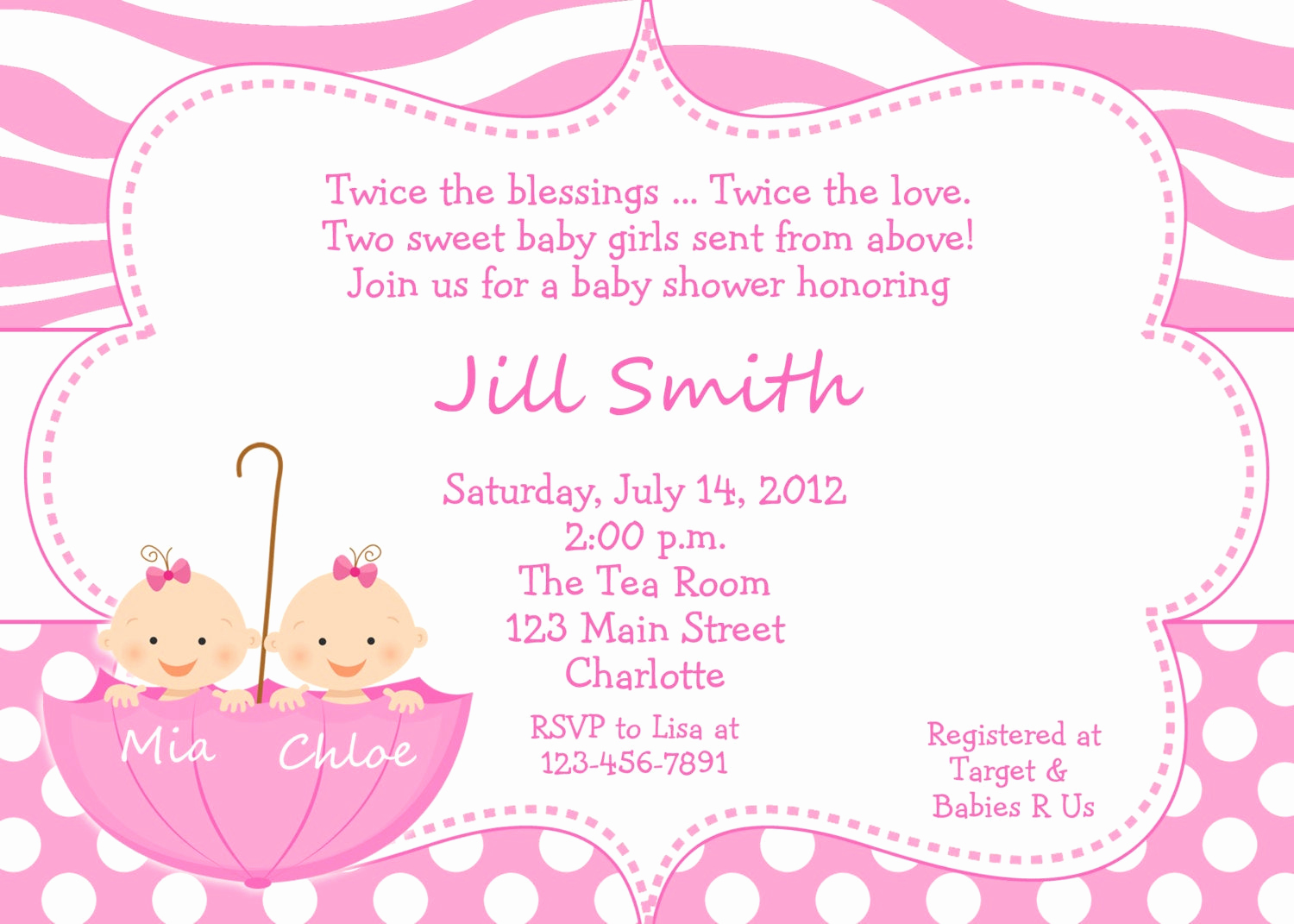 Baby Shower Invitation for Twins Fresh Twin Baby Girls Shower Invitation Twins by thebutterflypress