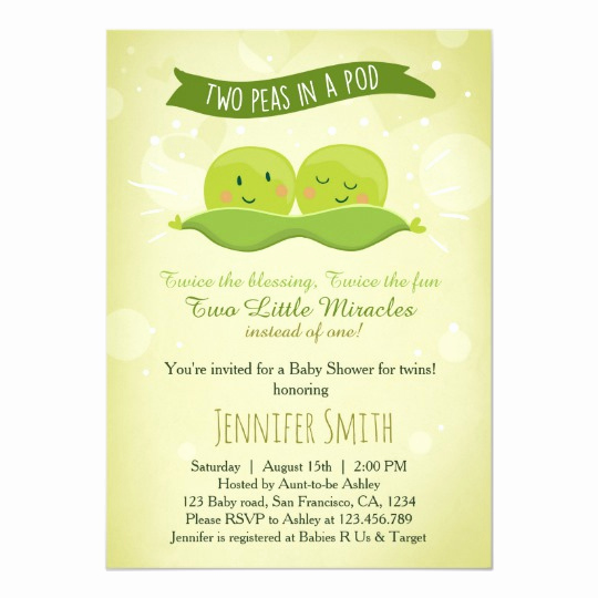 Baby Shower Invitation for Twins Fresh Twin Baby Shower Invitation Two Peas In A Pod
