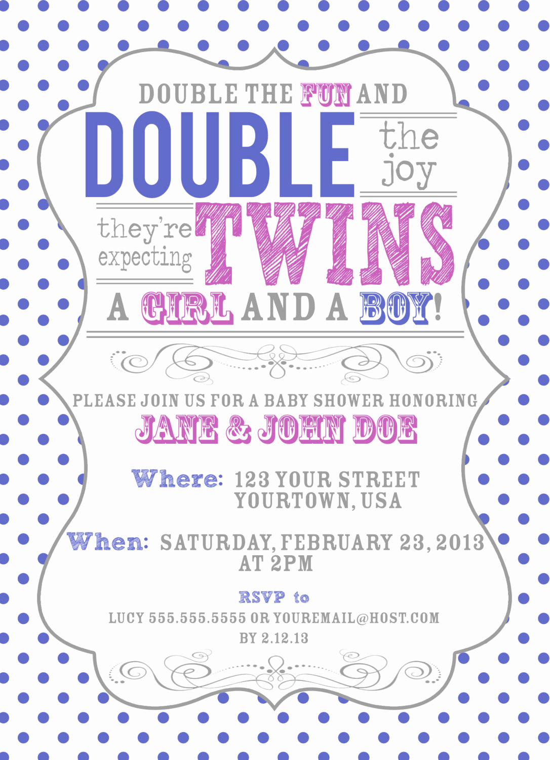 Baby Shower Invitation for Twins Fresh Vintage Inspired Twin Baby Shower Invitation by Pgcdesigns