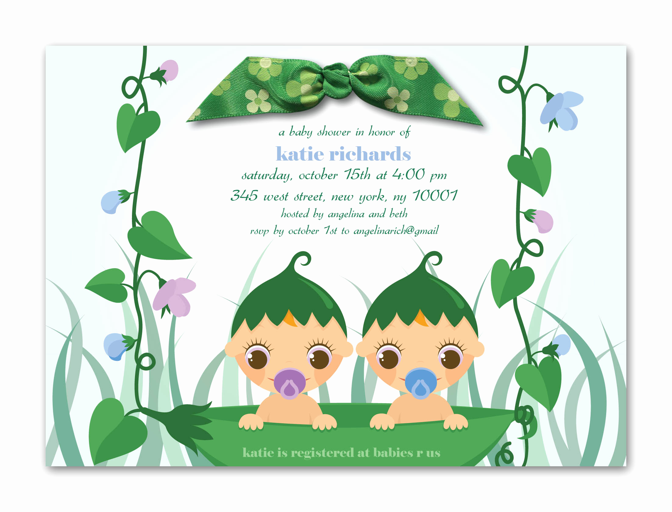 Baby Shower Invitation for Twins Inspirational Free Printable Baptism Floral Invitation Template