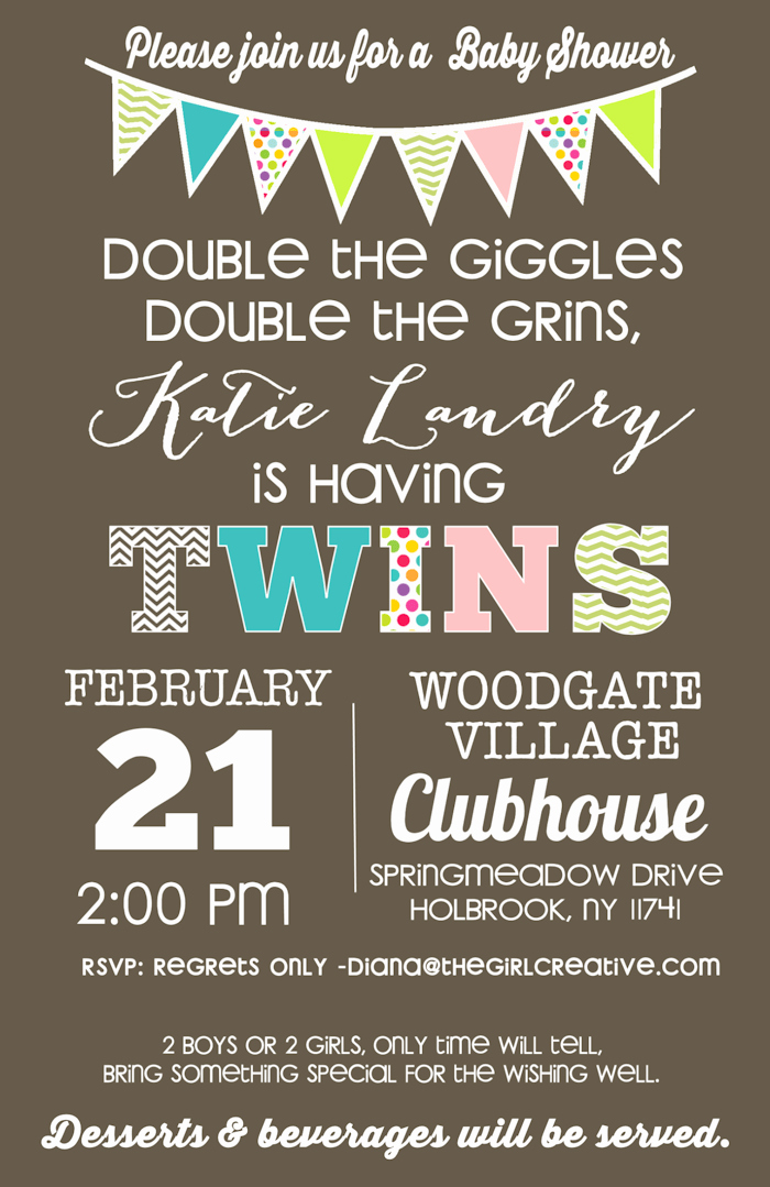Baby Shower Invitation for Twins Inspirational Gender Neutral Baby Shower