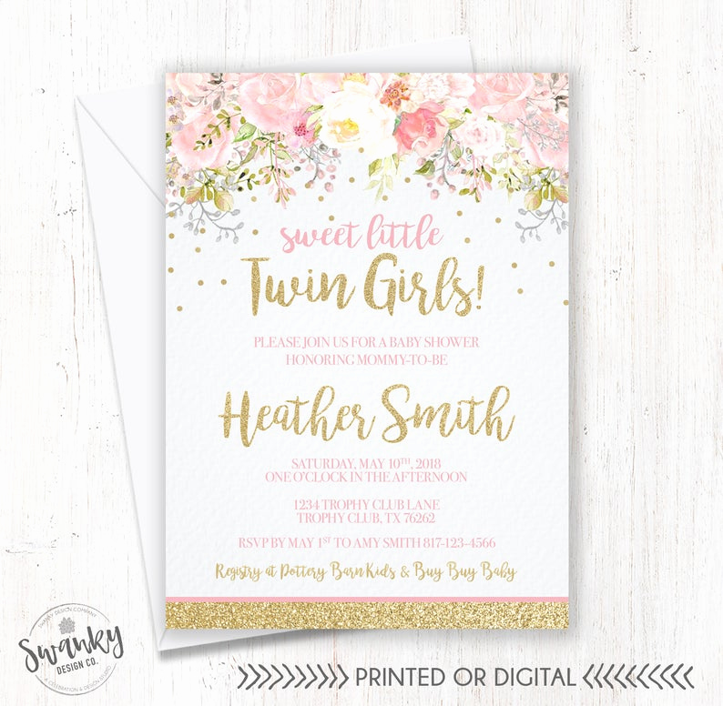 Baby Shower Invitation for Twins New Twins Baby Shower Invitations Twin Girl Baby Shower Floral