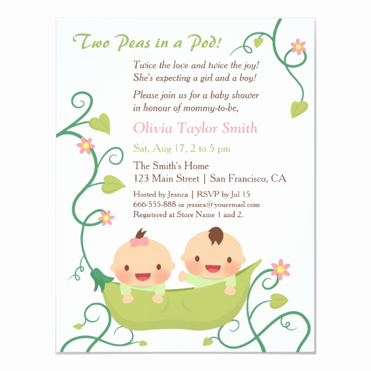 Baby Shower Invitation for Twins New Two Peas In A Pod Twin Baby Shower Invitations