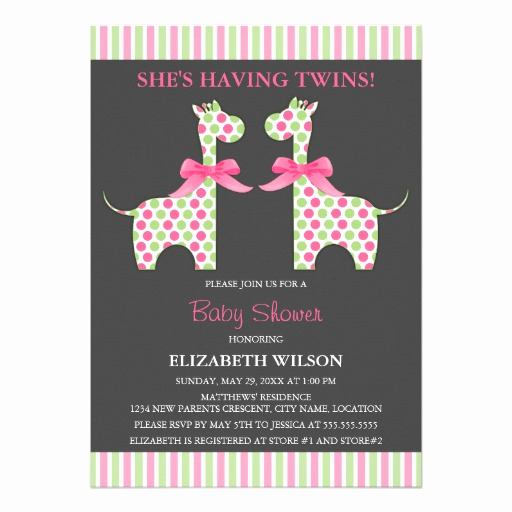 Baby Shower Invitation for Twins Unique Twin Girl Giraffe Baby Shower Personalized Announcements