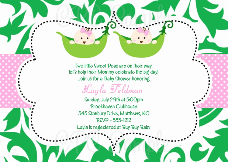 Baby Shower Invitation for Twins Unique Twin Girls Pea In the Pod Baby Shower Invitations