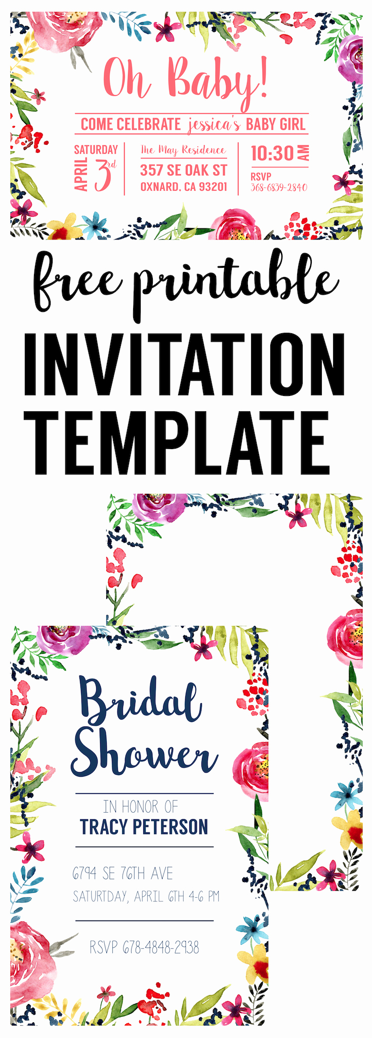 Baby Shower Invitation Free Printable Best Of Floral Borders Invitations Free Printable Invitation