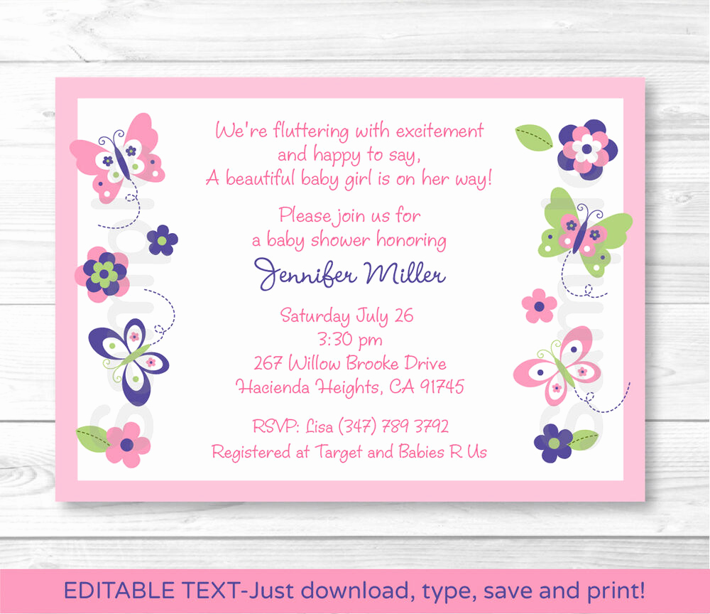 Baby Shower Invitation Free Printable Best Of Pink Beautiful butterfly Paradise Printable Baby Shower