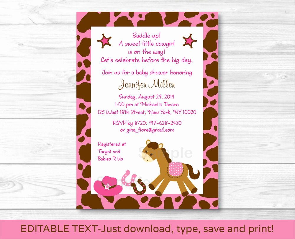 Baby Shower Invitation Free Printable Inspirational Pink Cowgirl Pony Printable Baby Shower Invitation