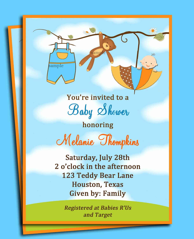 Baby Shower Invitation Free Printable Inspirational Teddy Bear Umbrella Boy S Baby Shower Invitation Printable