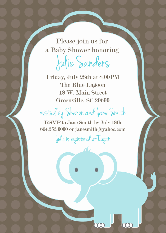 Baby Shower Invitation Free Printable Luxury Printable Baby Shower Invitation Elephant Boy by Ohcreative E